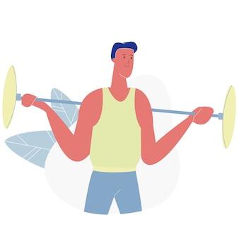 Treinamento de esportista powerlifter no ginásio com barra