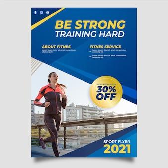 Treinamento de fitness esporte design de cartaz