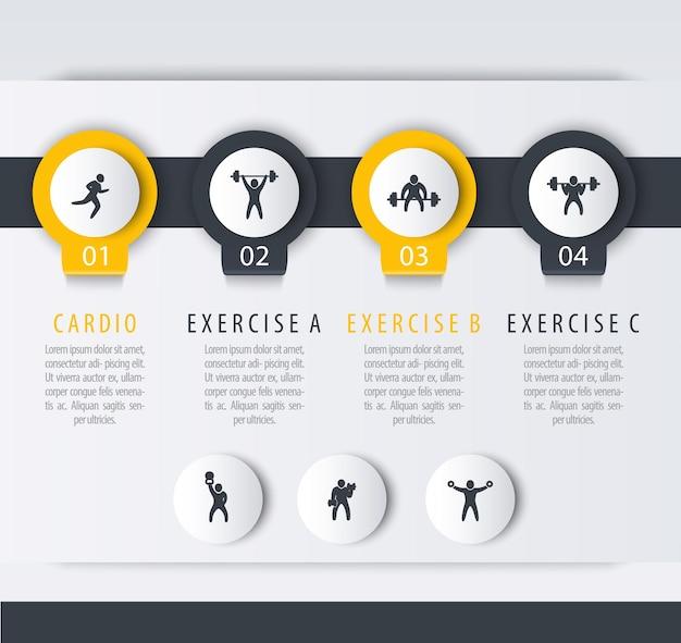 Treinamento de ginástica, treino, modelo de infográfico de 4 etapas, com ícones de exercícios de fitness Vetor Premium