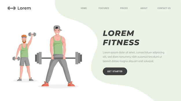 Treinamento de treino online ou modelo de site de estúdio de fitness com texto