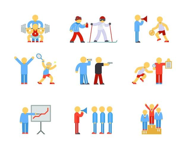 Treinamento esportivo e ícones de treinamento esportivo em design plano.