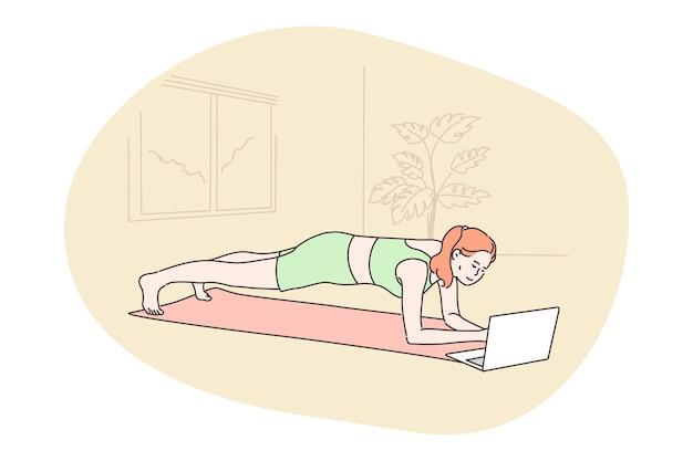 Treinamento esportivo, ioga, conceito de fitness.
