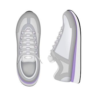 Treinamento esportivo, tênis de corrida na moda sapatos brancos superior e lateral closeup vista composição realista