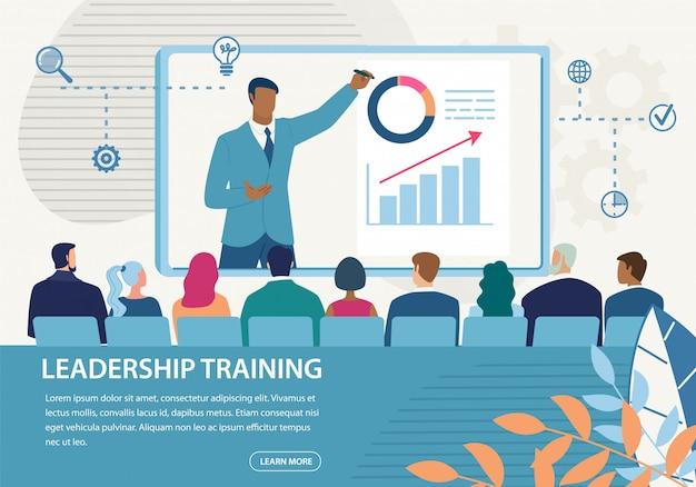 Treinamento informativo de liderança em inscrição em banner
