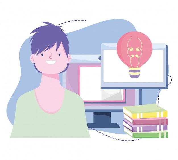 Treinamento on-line, computador e livros dos alunos, cursos de desenvolvimento de conhecimento usando a internet