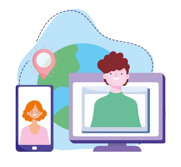 Treinamento on-line, conexão de computador com smartphone para pessoas, cursos de desenvolvimento de conhecimento usando a internet