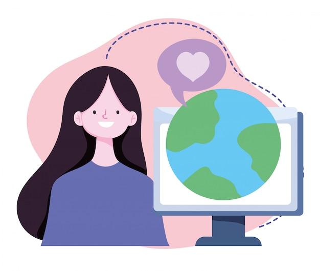 Treinamento on-line, garota com lição de mundo virtual, cursos de desenvolvimento de conhecimento usando a internet