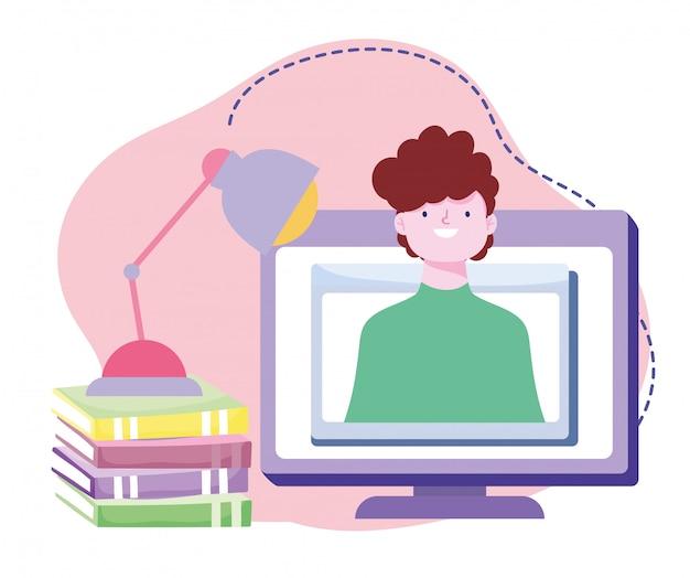Treinamento on-line, homem em livros de seminários em computadores, cursos de desenvolvimento de conhecimento usando a internet