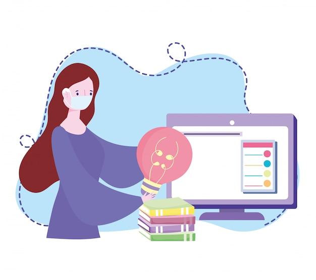 Treinamento on-line, mulher com computador de bulbo de máscara e livros, desenvolvimento de conhecimento de cursos usando a internet