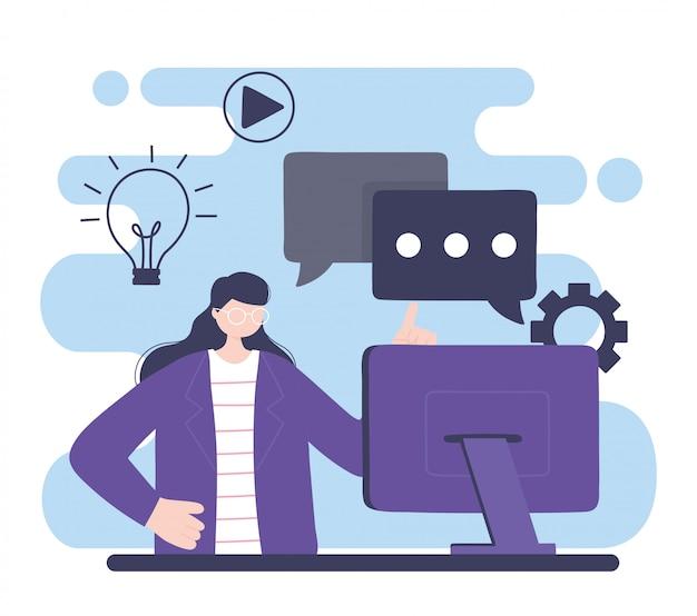 Treinamento on-line, mulher com educação em informática e cursos aprendendo ilustração digital