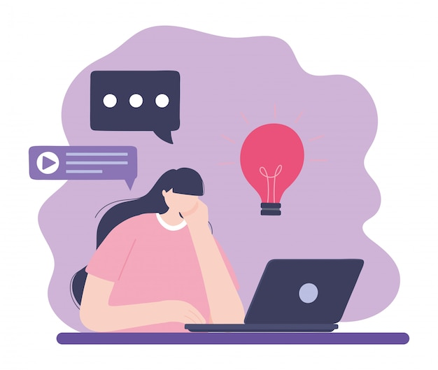 Treinamento on-line, mulher usando laptop conversando criatividade, educação e cursos aprendendo ilustração digital