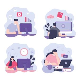 Treinamento on-line, pessoas com computador laptop estudando, cursos de desenvolvimento de conhecimento usando a ilustração da internet