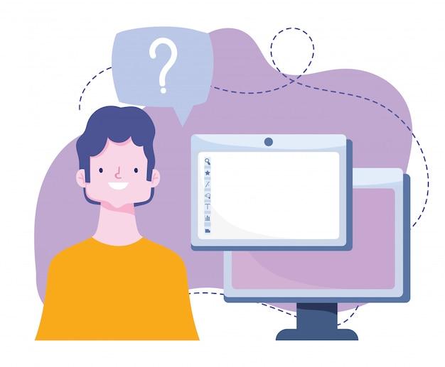 Treinamento on-line, site do computador do aluno, desenvolvimento de conhecimento de cursos usando a internet