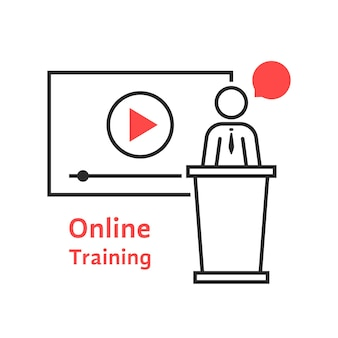 Treinamento online com porta-voz linear. conceito de classe, tablet, líder, tutor pessoal, trabalho em equipe, universidade, apresentação. ilustração em vetor design de logotipo moderno tendência estilo plano no fundo branco