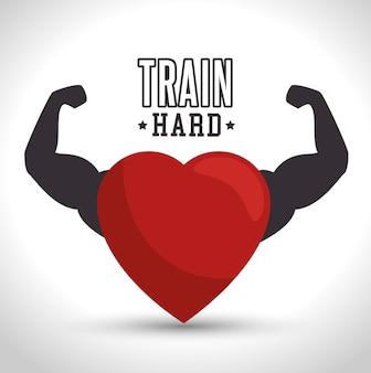Treinar coração duro braço ícone ginásio