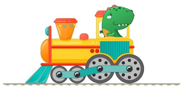 Treine com dinossauro pequeno bonito em estilo cartoon. ilustração em vetor colorida para escola, design de crianças pré-escolares.