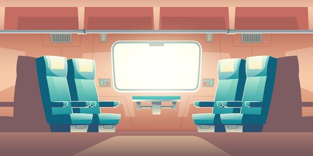 Treine dentro da ilustração de viajante de bilhete mensal ferroviário vazio interior