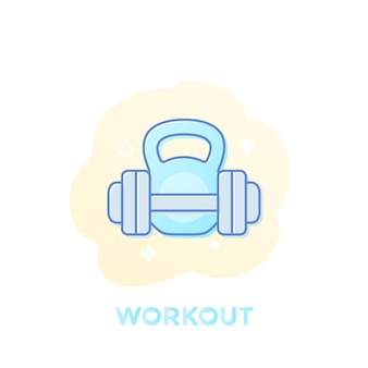 Treino, aptidão, treinamento em ícone de ginásio, vetor