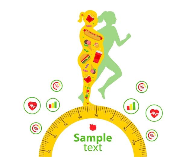Treino corporal estilo de vida saudável ativo conceito de perda de peso mulher antes e depois da dieta e fitness