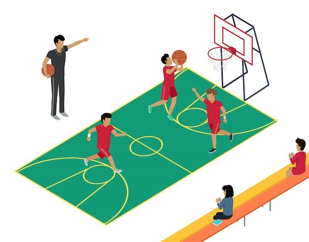 Treino de basquete com três jogadores e treinador.
