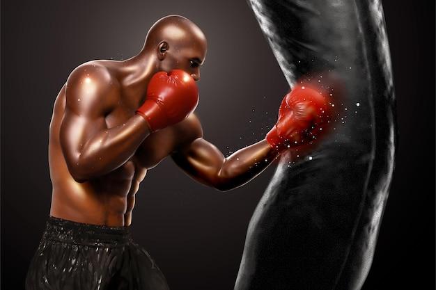 Treino de boxeador forte socando saco de areia em estilo 3d
