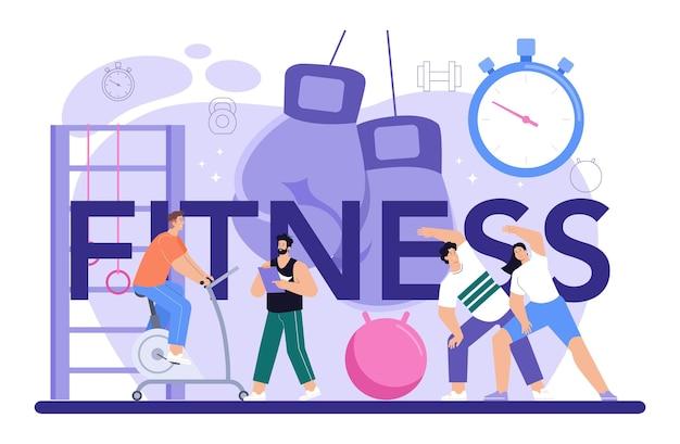 Treino de cabeçalho tipográfico de fitness na academia com instrutor profissional