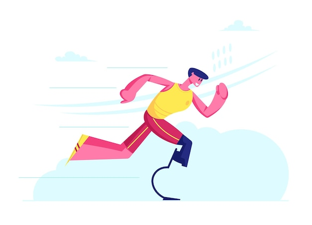 Treino de corrida de atleta deficiente, esportista com prótese biônica de perna jogging, recuperação pós-acidente, exercícios de reabilitação. ilustração plana dos desenhos animados
