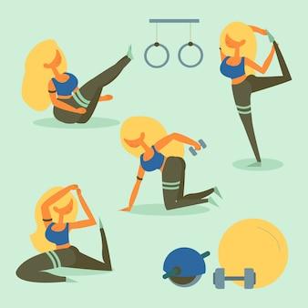 Treino de fitness de mulher loira