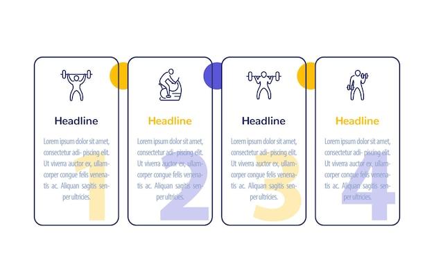 Treino de ginásio, treino, infográfico de 4 passos com ícones de linha de fitness