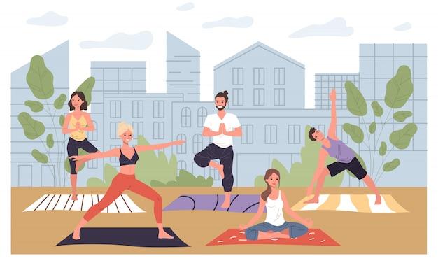 Treino de ioga ao ar livre