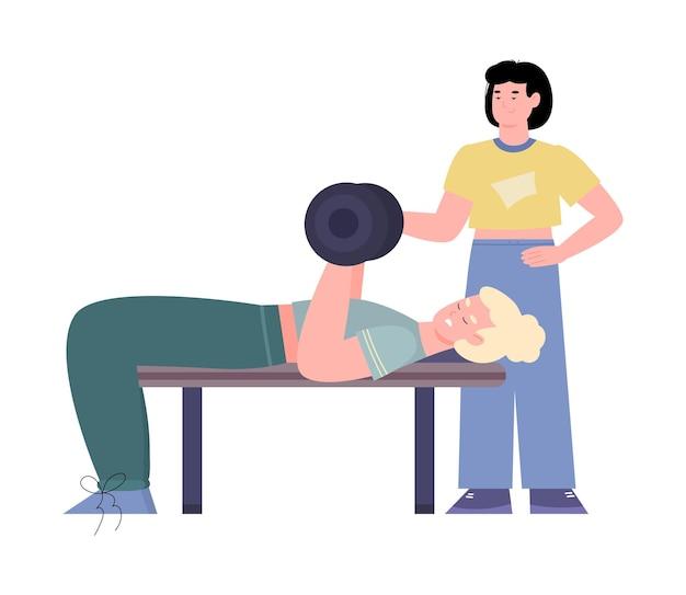 Treino pessoal de fitness e exercícios de musculação com peso na academia