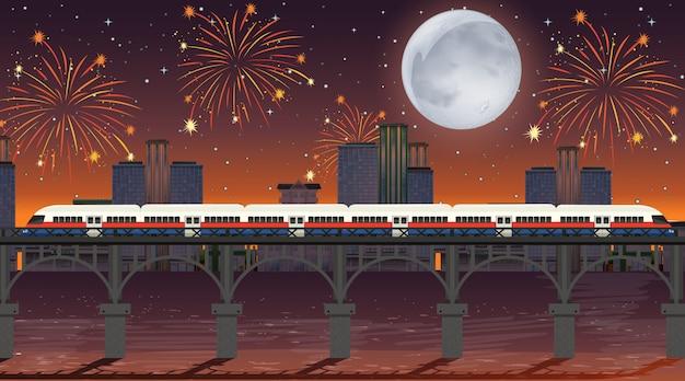Trem atravessar o rio com cena de fogos de artifício celebração