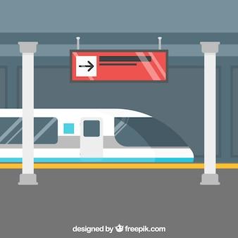 Trem, cena, chegando, estação