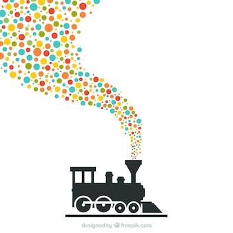 Trem com pontos coloridos