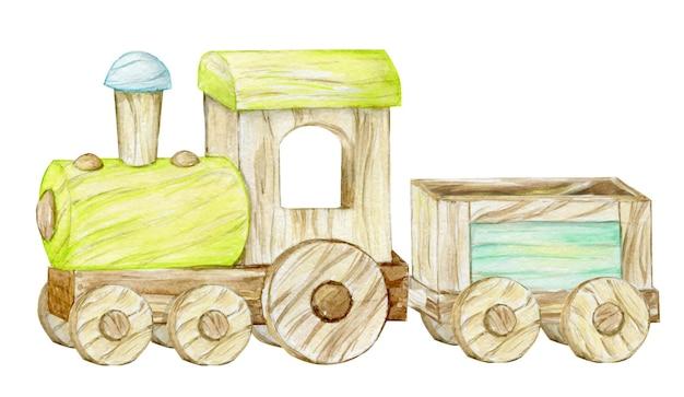 Trem de brinquedo de madeira em fundo branco. clip-art em aquarela em estilo cartoon, para convites infantis e cartões postais.