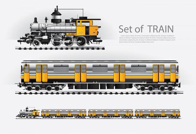 Trem de carga em uma ilustração de estrada de trilho
