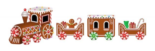 Trem de gengibre isolado com homem de gengibre e doces de natal