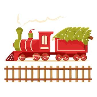 Trem de natal carrega uma árvore de natal locomotiva de brinquedo para o feriado