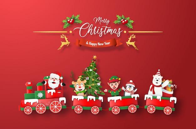 Trem de natal com papai noel e personagem em fundo vermelho