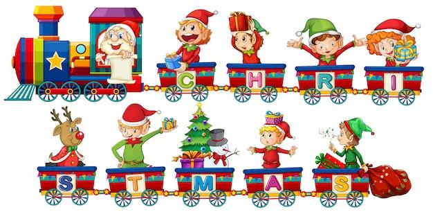 Trem de natal no fundo branco