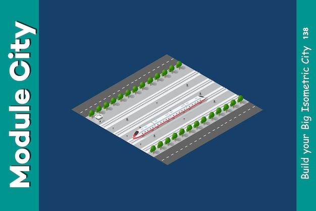 Trem de transporte 3d isométrico