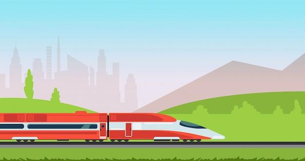 Trem do metro subterrâneo e arquitectura da cidade urbana. transporte de metrô e ferrovia