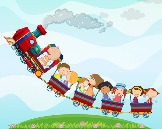 Trem e crianças