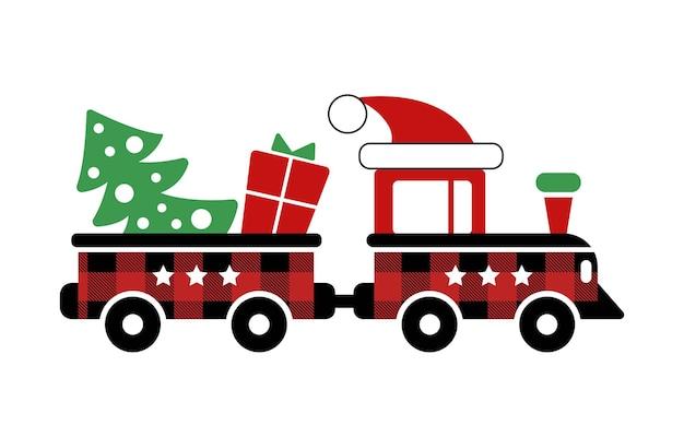 Trem e vagão de brinquedo vermelho com chapéu de árvore de presente de natal e enfeite de xadrez de búfalo em preto vermelho