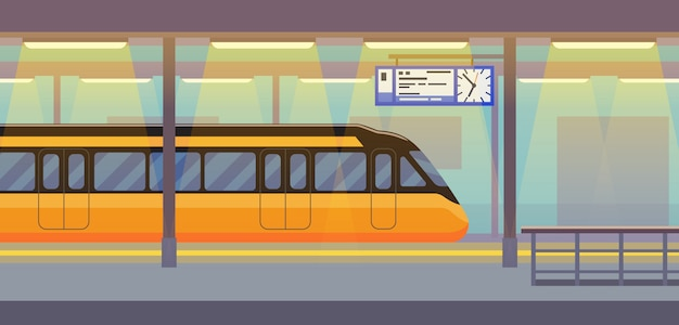 Trem elétrico de passageiro moderno no túnel subterrâneo, metrô, metro