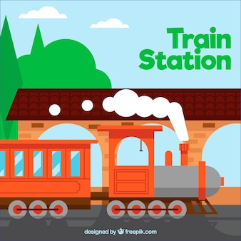 Trem, estação, laranja, trem, liso, desenho