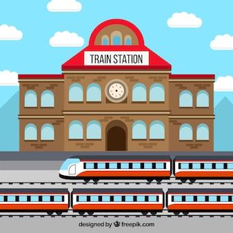 Trem, estação, tijolo, predios
