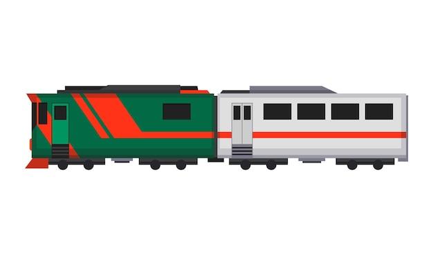 Trem expresso de passageiros. carruagem ferroviária. metro dos desenhos animados ou trem de alta velocidade.