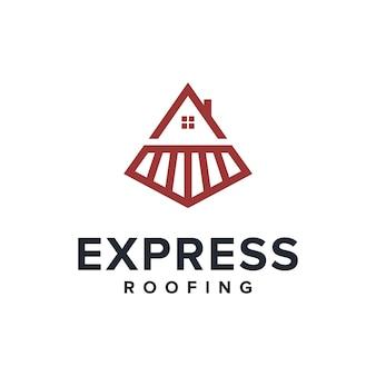 Trem expresso e casa no telhado esboçam um logotipo simples e elegante, criativo, geométrico e moderno