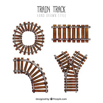 Trem, faixa, cobrança, mão, desenhado, estilo